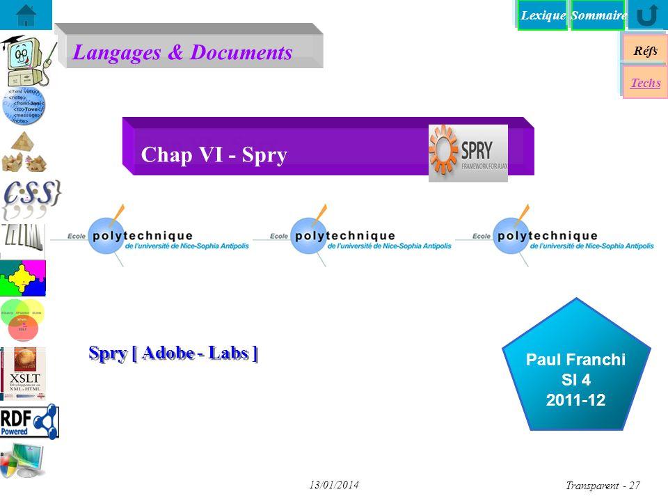 Chap VI - Spry Spry [ Adobe - Labs ] Objectif pédagogique